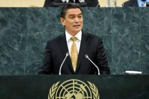 Vanuatu Prime Minister Moana Carcasses Kalosil at the UN