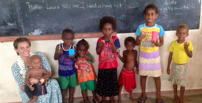 On the Island of Malekula, in the far away nation of Vanuatu, Vineyarder Laura Jernegan teaches English to children, and trains others to become teachers. (Courtesy Laura Jernegan).