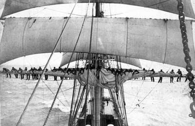 Crewmen up the sails