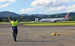 Virgin Australia landing at Port Vila International Airport. Photo: Airports Vanuatu Limited/Facebook/Jason Rakau