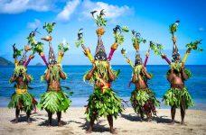 Striking masks worn by performers in the Nalawan Festival at South West Bay, Malekula.