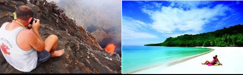 Extreme experiences in a live volcano to extreme relaxation on a pristine strand.