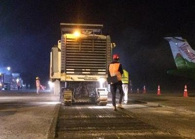 Ashphalt works on the Port Vila runway