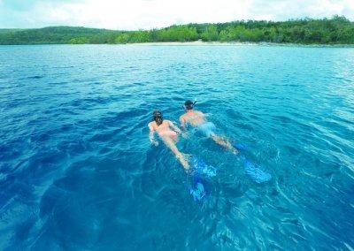 Couple swimming in Vanuatu