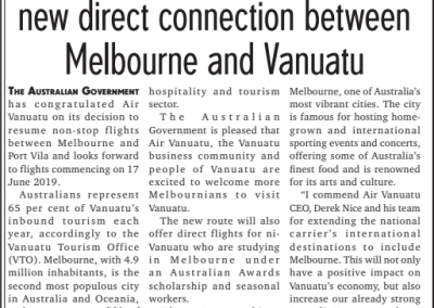 AU welcomes AirVan connection to Melb