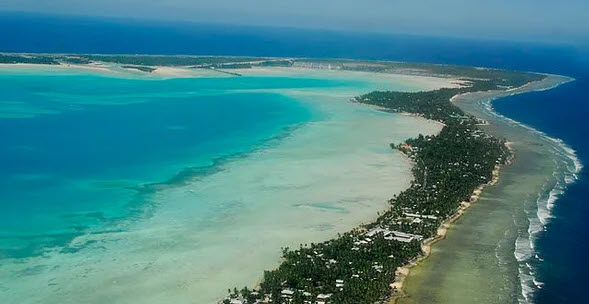 Kiribati aerial shows airport at top