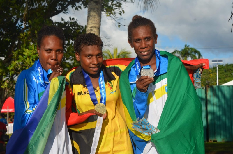 Winners of XVI Pacific Games half-marathon 2019