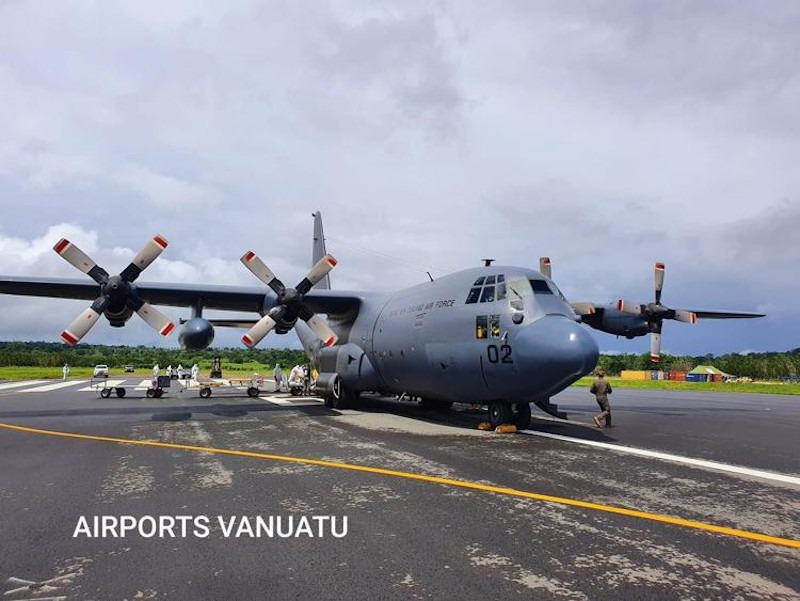 New Zealand Air Force Hercules flying to Vanuatu to assist with cyclone recovery